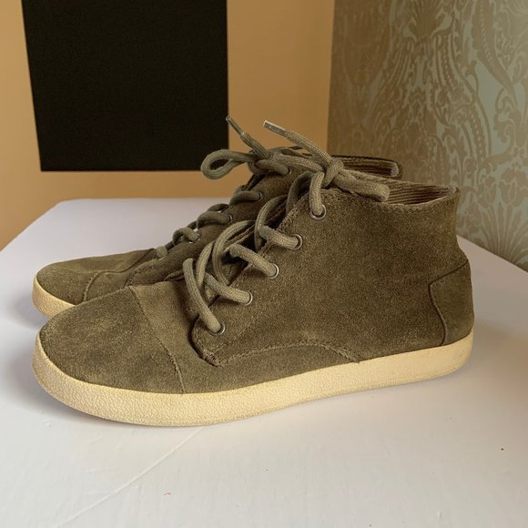 Toms Lace Up Ankle Boots Sneakers Army Green